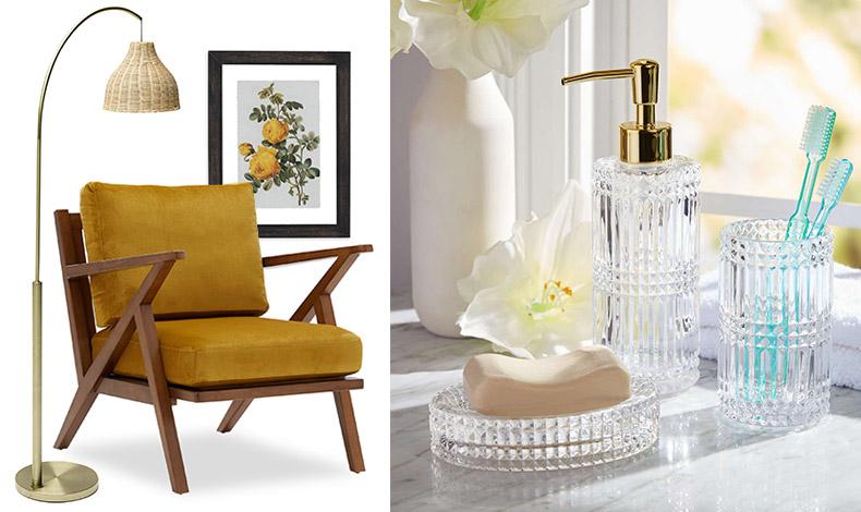 Πολυθρόνα στιλ Mid-Century, λαμπατέρ με ψάθινο καπέλο, πίνακας Vintage Yellow Roses // Σετ με γυάλινα αξεσουάρ για το μπάνιο