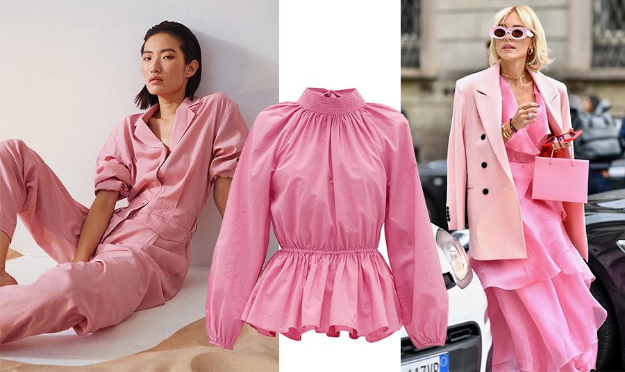 Μία ολόσωμη φόρμα σε αυτή την απόχρωση για όλες τις ώρες // Το αισθητικό αποτέλεσμα διαφορετικών αποχρώσεων του ροζ είναι μοναδικό αλλά απαιτεί γνώση! «Σκονισμένο ροζ για το σακάκι, λαμπερό φούξια για το φόρεμα και την τσάντα και παστέλ ροζ για τα γυαλιά…