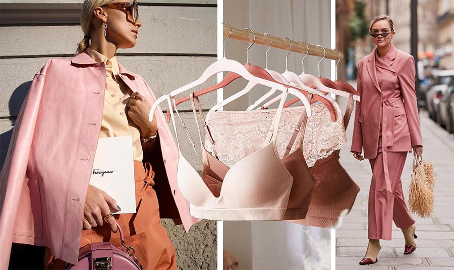 Το dusty pink ταιριάζει μοναδικά με ένα γλυκό μπεζ και με ένα πορτοκαλί της σκουριάς εκφράζοντας μία δυναμική και κομψή γυναίκα! // Μπορείτε να το υιοθετήσετε και στα εσώρουχά σας // Ένα κοστούμι σε αυτή την απόχρωση σε συνδυασμό με μπεζ-μπορντό παπούτσια, η επιτομή της κομψότητας!