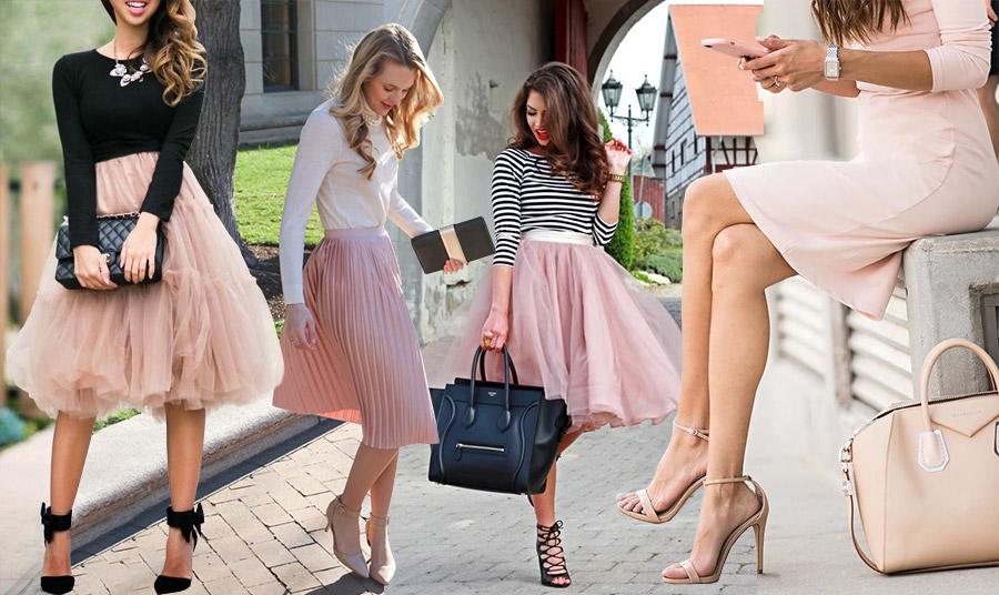 Συνδυάστε μία φούστα σε αυτή την απόχρωση του ροζ κλασικά με μαύρο, λευκό ή και ριγέ μαύρο-λευκό μπλούζα ή πουκάμισο // Είναι μία θαυμάσια ευκαιρία να φορέσετε μία μονοχρωμία! Ένα κλασικό φόρεμα με τα ανάλογα αξεσουάρ στον ίδιο τόνο