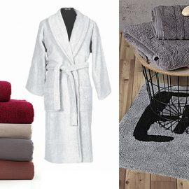 Για τον αγαπημένο σας! Με έθνικ έμπνευση ριχτάρια Algiers // Σετ μπορντό πετσέτες μπάνιου από τη σειρά Aegean // Λευκό μπουρνούζι από 100% βαμβάκι // Πετσέτες σε γκρι χρώμα και ασορτί χαλάκι μπάνιου, όλα από τις νέες συλλογές, NEF NEF homeware