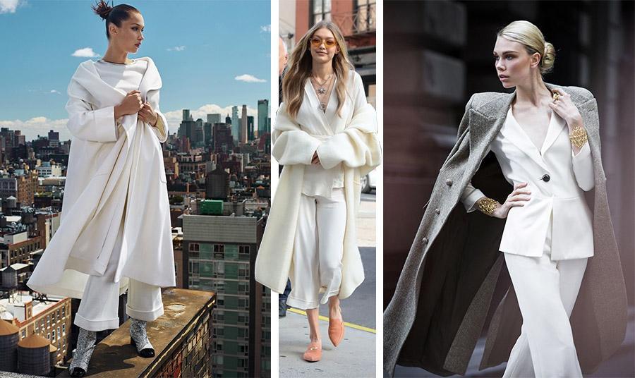 Χυτές γραμμές για ένα λουκ που αποπνέει πολυτέλεια, όπως η Bella Hadid // Η Gigi Hadid σε ολόλευκα με ένα φαρδύ παλτό // Γκρι παλτό και λευκό κοστούμι για μία εμφάνιση που δεν περνά απαρατήρητη