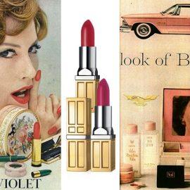 """Διαφήμιση του 1950, Elizabeth Arden Pink Violet, όταν είχε δημιουργήσει το """"total look"""", δηλ. ίδιες αποχρώσεις για ρουζ, νύχια και κραγιόν // Υπέροχα κραγιόν σήμερα, από τη φετινή συλλογή // Για πρώτη φορά, συνδύασε ως δώρο, μια κασετίνα γεμάτη προϊόντα μακιγιάζ με κάθε αγορά ενός Chrysler Imperial το 1960!"""