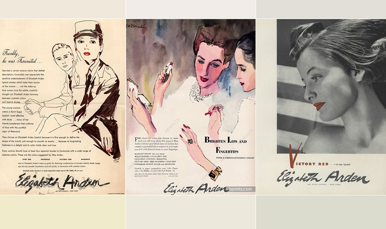Κατά τη διάρκεια του Β' Παγκοσμίου Πολέμου δημιουργεί τις τέλειες αποχρώσεις κόκκινου κραγιόν για να ταιριάζει με τις στολές των γυναικών? όπως το Montezuma Red // Για λαμπερά χείλη και νύχια, διαφήμιση του 1943 // Το κραγιόν Victory Red κρατούσε ψηλά το ηθικό των γυναικών