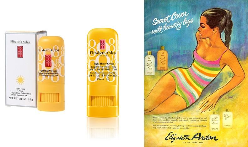 Ήδη από το 1966, τα αντηλιακά της Elizabeth Αrden ήταν ανθεκτικά στο νερό, εύκολα στην εφαρμογή και χάριζαν χρώμα? στα πόδια! // Αντηλιακά για το πρόσωπο από τη σειρά Eight Hour Cream σε μορφή στικ με ισχυρά φίλτρα και υδατικά αποτελέσματα