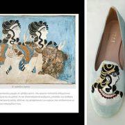 Οι γαλάζιες Κυρίες: Εμπνευσμένα από την τοιχογραφία του ανακτόρου της Κνωσού. Τα παπούτσια είναι φτιαγμένα από γαλάζιο ολομεταξωτό σαντούκ όπως το φόντο της τοιχογραφίας. Τα μαλλιά είναι κεντημένα με τον παραδοσιακό τρόπο που φτιάχνεται η κρητική στολή, με την αδιάκοπη κλωστή και μάλιστα χρυσή για να δοεθί η αίσθηση των χρυσών κοσμημάτων που φορούσαν τότε στα μαλλιά τους, οι Μινωίτισσες αρχόντισσες!