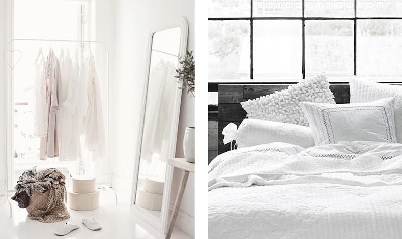 Λευκό στον χώρο του υπνοδωματίου για μία διάθεση γαλήνης και άνεσης, ο συνδυασμός με πινελιές μαύρου κάνει τον χώρο σούπερ μοντέρνο