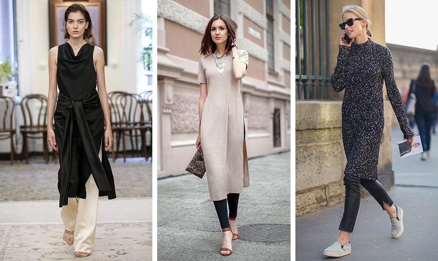 Ένα μίντι φόρεμα σε αυστηρή ίσια γραμμή πάνω από στενό παντελόνι είναι κατάλληλο και για το γραφείο ή άλλες πιο επίσημες εκδηλώσεις