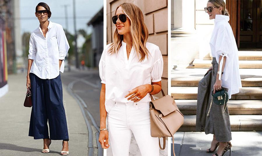 Φορέστε ένα φαρδύ πουκάμισο ή ένα πουκάμισο με ιδιαίτερα μανίκια πάνω από ένα φαρδύ παντελόνι ή το λευκό σας τζιν για όλες τις ώρες