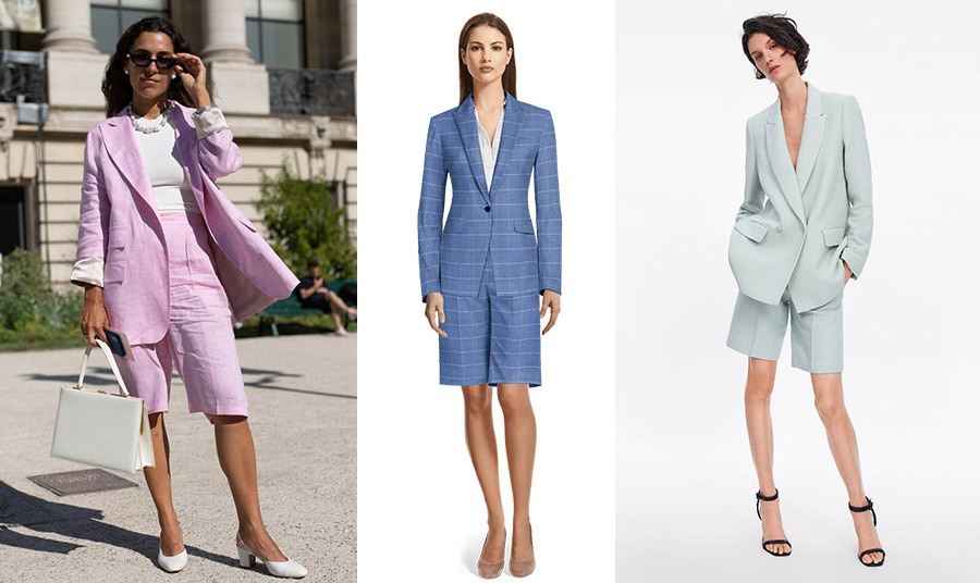 Το κοστούμι-βερμούδα και μάλιστα σε παστέλ χρώματα είναι κατάλληλο για τις βόλτες σας αλλά και το γραφείο
