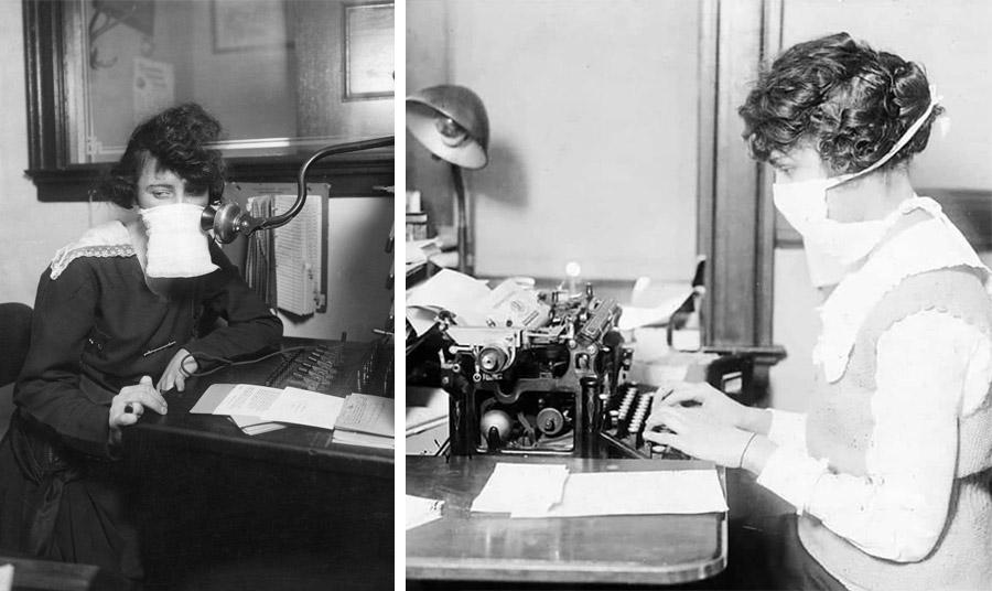 Γυναίκες εν ώρα εργασίας, μία τηλεφωνήτρια και μία γραμματέας μπροστά στη γραφομηχανή της το 1918. Οι μάσκες για τις γυναίκες χρησιμοποιήθηκαν και ως πρόληψη κατά της παρενόχλησης