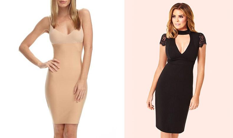 Σε ένα στενό φόρεμα που μπορεί να είναι κομψό, συχνά όμως μαζεύει σε περίεργα σημεία, η καλύτερη λύση είναι το κλασικό κομπινεζόν