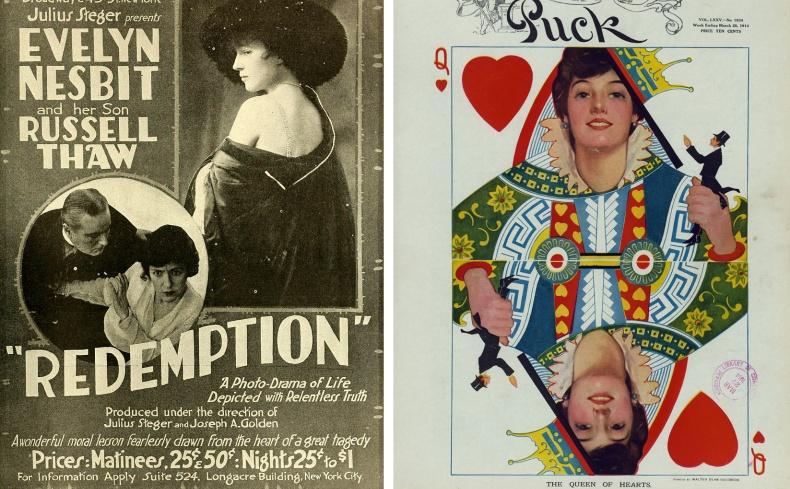 Αφίσα από θεατρική παράσταση στο Μπρόντγουεϊ με αφορμή τη «δίκη του αιώνα» // Η εικόνα της κυριαρχούσε σε πίνακες, καρτ ποστάλ και κάθε είδους διαφήμιση - εδώ ως ντάμα κούπα σε τράπουλα
