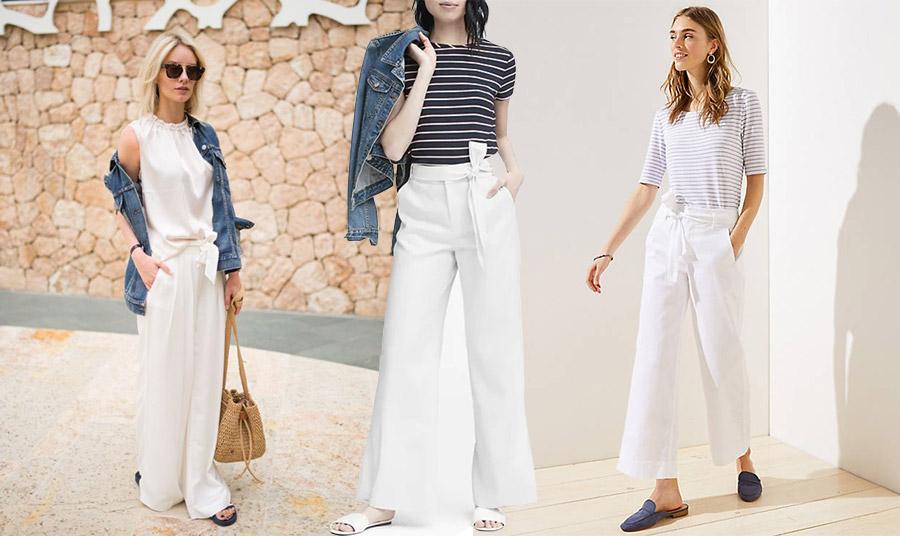 Αν επιλέξετε κάποιο παντελόνι σε λευκό συνδυάστε το με τζιν σακάκι, μία μαρινιέρα ή και εξίσου λευκή μπλούζα για μία πολύ δροσερή εμφάνιση