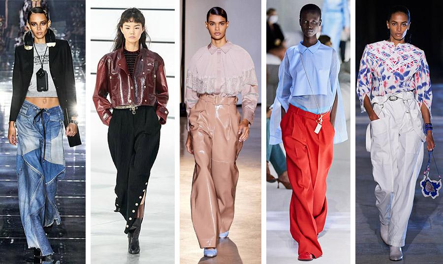 Τα τεράστια παντελόνια σε διάφορες εκδοχές και διάφορα υφάσματα από τις πασαρέλες: Tom Ford // Chanel // Self Portrait // Fendi // Isabel Marant