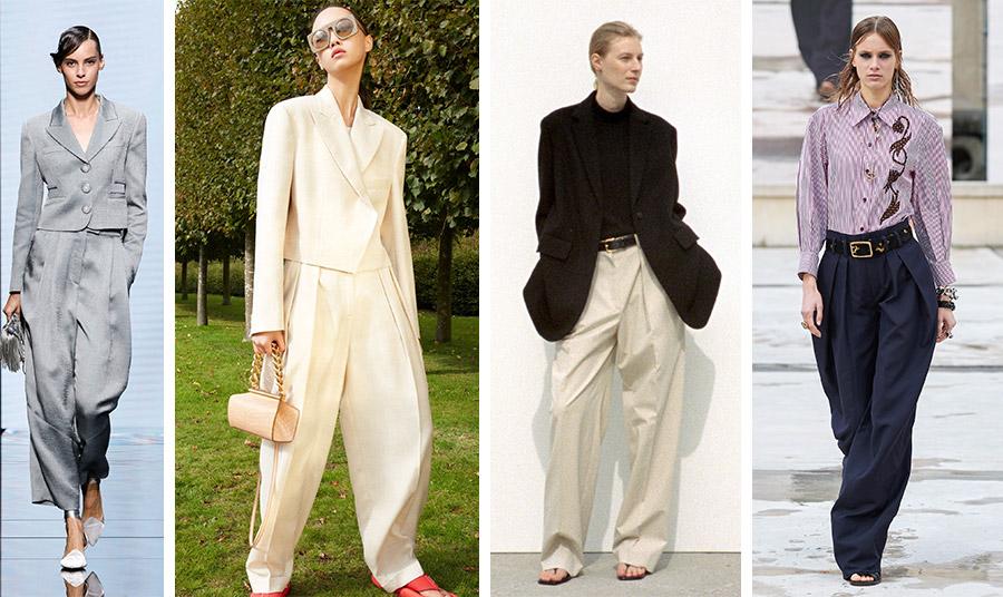 Την ερχόμενη άνοιξη τα φαρδιά και υπερμέγεθη παντελόνια συνδυασμένα με σακάκια και πουκάμισα: Giorgio Armani // Stella McCartney // The Row // Chloé