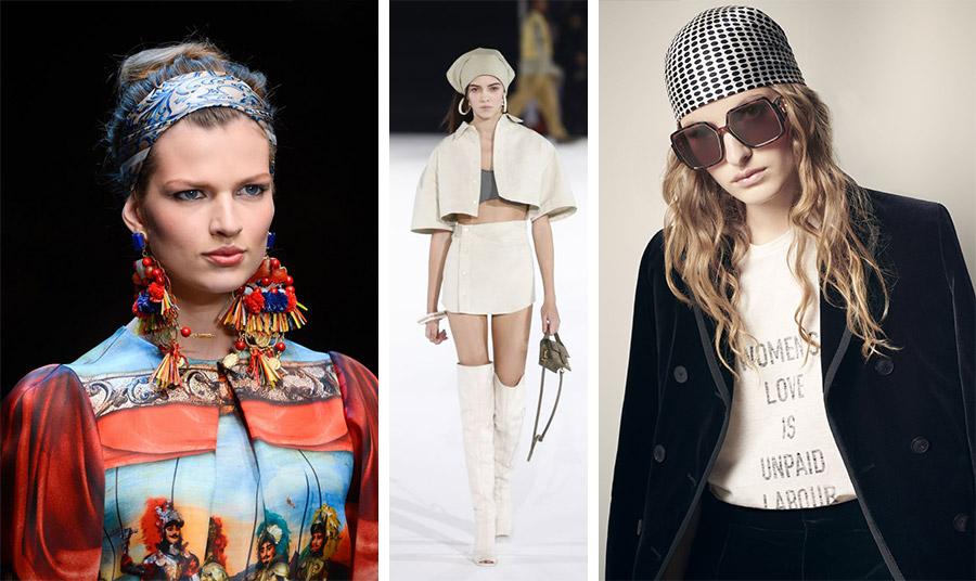 Tα μαντίλια δεμένα στο κεφάλι υιοθετούνται από πολλούς οίκους: Marc Jacobs // Hermes // Dior