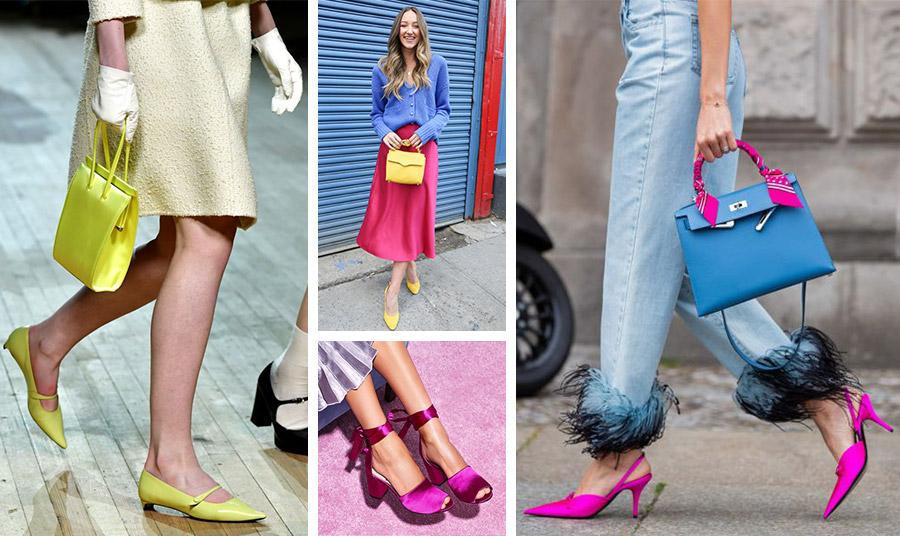 Τα αξεσουάρ, τσάντες και παπούτσια σε εντυπωσιακά χρώματα θα δώσουν την πινελιά του ξεχωριστού! Σε λάιμ αποχρώσεις, Marc Jacobs // Tα κίτρινα αξεσουάρ θα είναι μεγάλη τάση // Λαμπερά σατέν φούξια παπούτσια, Sam Edelman // Το τζιν με τελειώματα από φτερά (Prada) συνδυάζεται εκπληκτικά με φούξια παπούτσια και μία γαλάζια τσάντα που το χερούλι της «ντύνεται» με φούξια μαντίλι (Hermes)