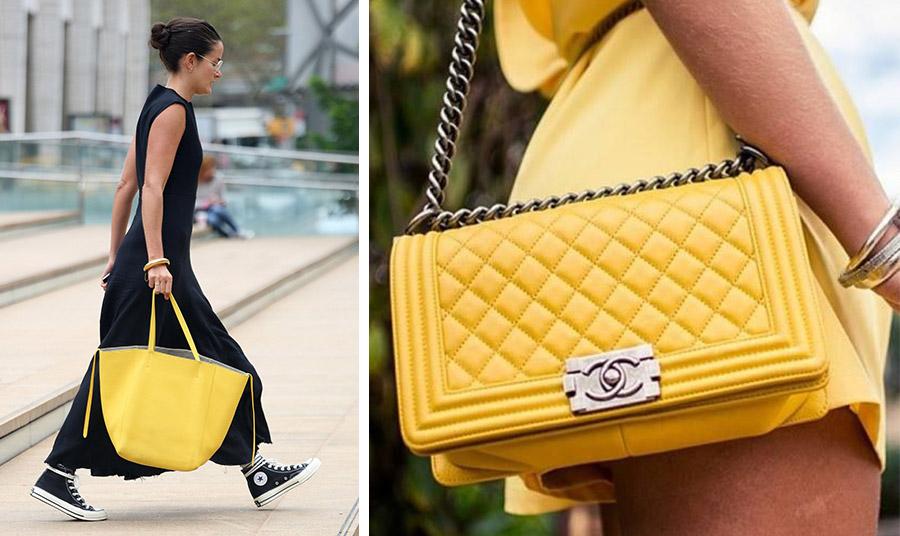 Μία κίτρινη τσάντα «σπάει» το μαύρο // Kίτρινη τσάντα, Chanel