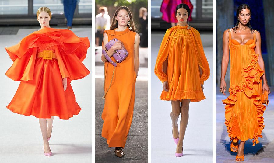 Οι αποχρώσεις του πορτοκαλί θα δώσουν τον τόνο της χρονιάς! Η λαμπερή εκδοχή από τις πασαρέλες της άνοιξης: Carolina Herrera // Valentino // Carolina Herrera // Versace