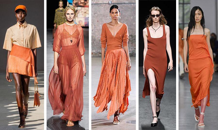 Το «καμένο» πορτοκαλί ή το πορτοκαλί της σκουριάς είναι η άλλη γκάμα του χρώματος που κυριαρχεί: Salvatore Ferragamo // Dior // Altuzarra // Drome // Sportmax