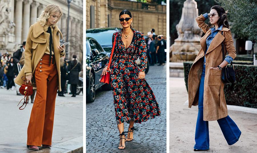 Το «καμένο» πορτοκαλί, τα φαρδιά παντελόνια-καμπάνα, τα φλοράλ φορέματα, τα τζιν και τα σουέντ δερμάτινα μαζί με όλον τον αέρα μίας πολύ ενδιαφέρουσας δεκαετίας είναι ήδη εδώ! Τα 70s κλέβουν την παράσταση!