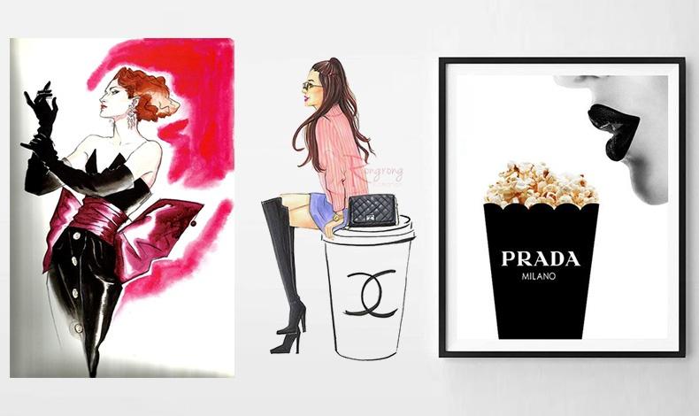 Μπορεί να είναι κορνιζαρισμένες παλιές διαφημίσεις ή έργα εμπνευσμένα από τη μόδα, όπως το σκίτσο Saint Laurent του Antonio Lopez, ένα illustration Chanel ή μία διαφήμιση Prada? Οι λάτρεις της μόδας θέλουν να τη βλέπουν γύρω τους!