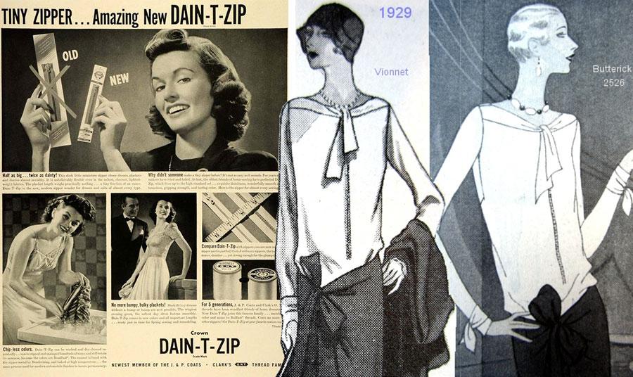 Διαφήμιση για τα πρώτα μικρά φερμουάρ του 1941 // Το πουκάμισο με το εξωτερικά ραμμένο φερμουάρ της Μαντελίν Βιονέ. Ήταν από τα πρώτα ρούχα της γαλλικής μόδας με χρήση φερμουάρ το 1929