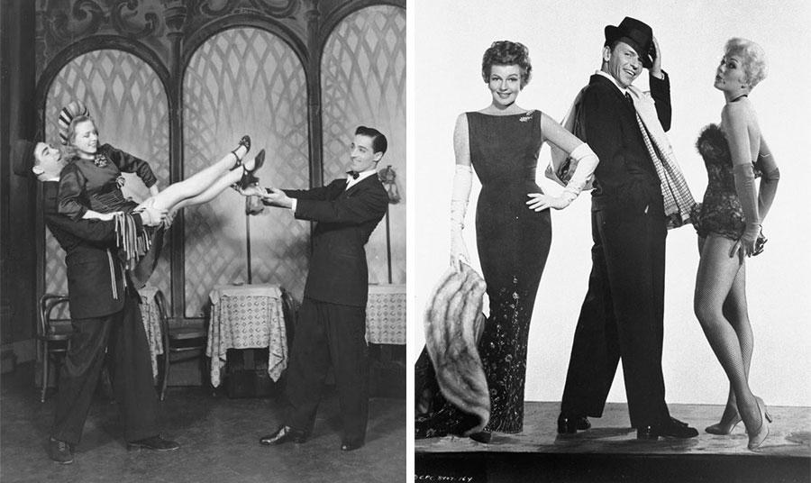 Σκηνή από το διάσημο μιούζικαλ «Pal Joey» του Μπρόντγουεϊ το 1940 με πρωταγωνιστή τον Γκρέις Κέλλι που περιελάμβανε τη διάσημη παντομίμα στριπτίζ με το ρεφρέν του «zip» σε όλη τη διάρκειά του // Από το ίδιο μιούζικαλ με πρωταγωνιστές τον Φρανκ Σινάτρα, την Κιμ Νόβακ και τη Ρίτα Χέιγουορθ το 1957
