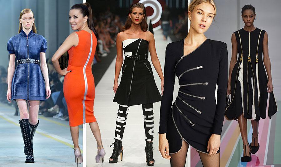 Μίνι φόρεμα με φερμουάρ από πάνω έως κάτω, Diesel (2016) // H Victoria Beckham δημιουργεί συχνά φορέματα με ορατά φερμουάρ με γραμμές που αγκαλιάζουν το σώμα // Φόρεμα με διαγώνια φερμουάρ, Jean Paul Gaultier // Μίνι, στενό και σέξι φόρεμα με ακτινωτά φερμουάρ, Alexander McQueen // Κομψό φόρεμα με χρυσά φερμουάρ, Salvatore Ferragamo (2016)