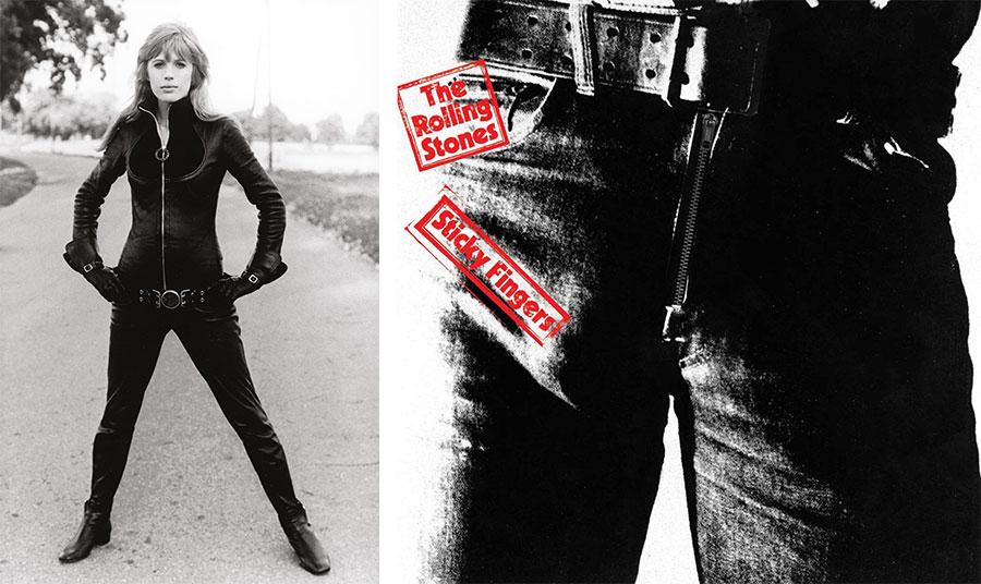 Η Μαριάν Φέιθφουλ φορώντας κατάσαρκα το δερμάτινο μπουφάν της το 1968… με κλειστό το φερμουάρ // Το διάσημο εξώφυλλο του Άντι Γουόρχολ για το άλμπουμ των Rolling Stones που άφησε εποχή με το πασιφανές σεξουαλικό υπονοούμενο του φερμουάρ στο στενό τζιν