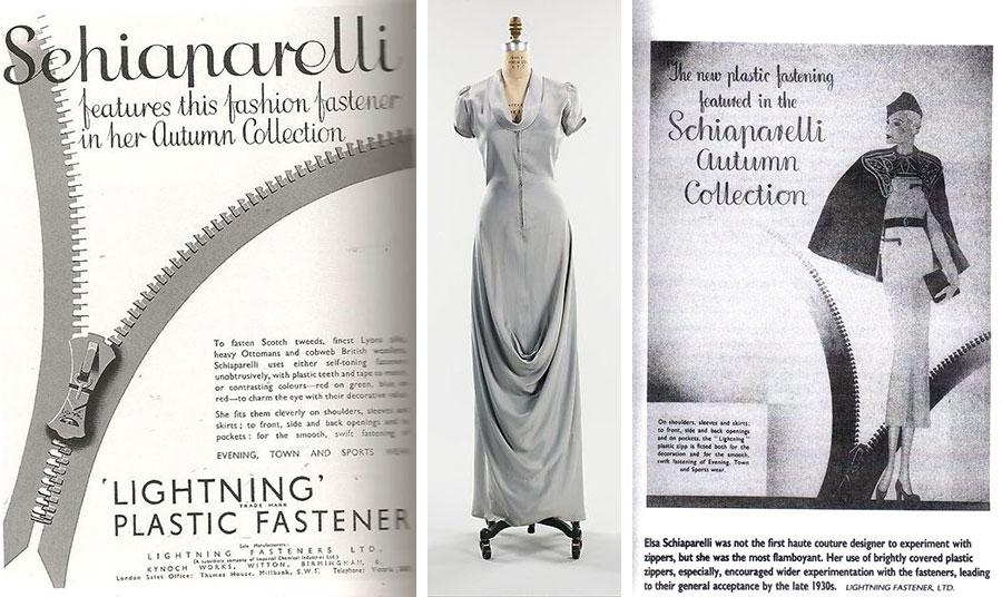Διαφημίσεις της πρωτοποριακής Γαλλίδας σχεδιάστριας μόδας Έλσας Σκιαπαρέλι (αριστερά και δεξιά) που χρησιμοποίησε το φερμουάρ για τη φθινοπωρινή της κολεξιόν το 1930 // Βραδινό φόρεμα με εμφανές φερμουάρ του 1939 της Σκιαπαρέλι (στη μέση)