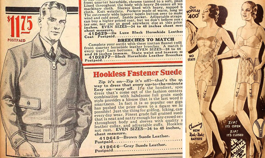 Ανδρικά μπουφάν από σουέντ με την ευκολία του κλεισίματος με φερμουάρ το 1930 // Τα φερμουάρ βρήκαν εφαρμογή και στου κορσέδες. Διαφήμιση με το σύνθημα «Ζιπ, άνοιξε, Ζιπ, έκλεισε» το 1932