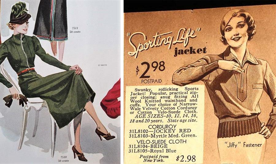 Φιγουρίνι για τις μοδίστρες, από την αμερικανική Vogue Νοέμβριος 1936 για φόρεμα με κλείσιμο από φερμουάρ // Διαφήμιση του Sears για σπορ ντύσιμο την άνοιξη του 1933 που τονίζει τη δημοφιλή χρήση του φερμουάρ