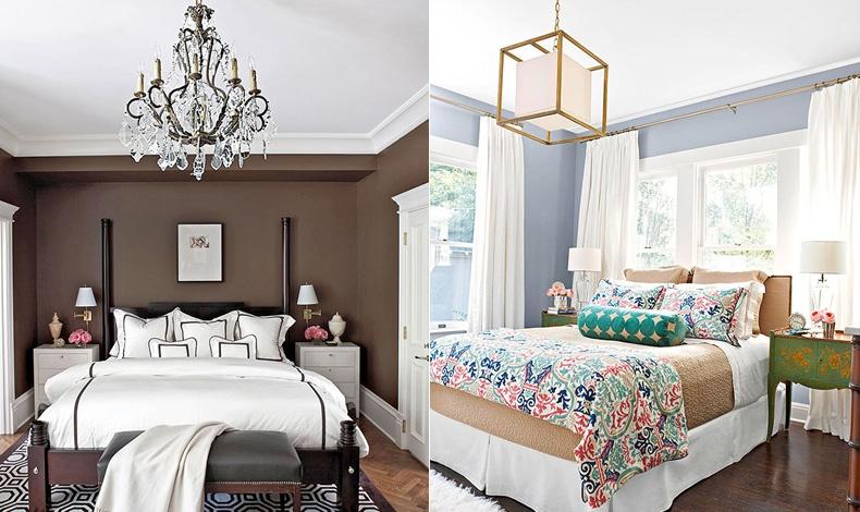 Διαφορετικού στιλ κρεβατοκάμαρες αλλά η ιδέα του φωτισμού είναι η σωστή: κεντρικός και χαμηλός φωτισμός σε τέλεια αρμονία