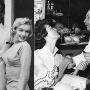 Η Μέριλιν Μονρόε με τον τότε σύζυγό της Άρθουρ Μίλερ έξω από το Alfredo // Χαιρετώντας ιπποτικά την Άβα Γκάρντερ