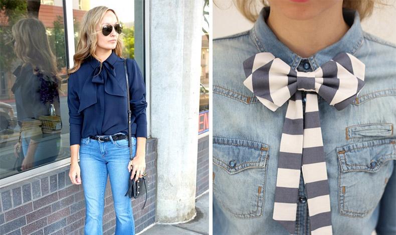 Ένα πουκάμισο με φιόγκο ταιριάζει θαυμάσια με το τζιν σας // Δοκιμάστε ένα ριγέ φιόγκο με ένα γαλάζιο μαλακό τζιν πουκάμισο