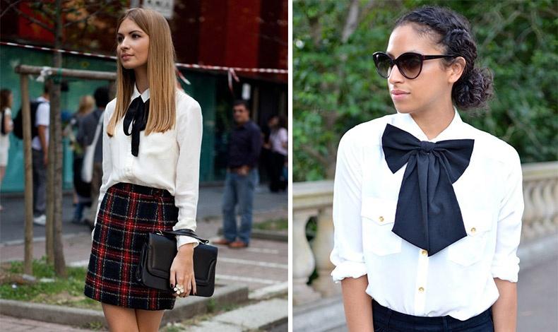Για ένα preppy look: επιλέξτε ένα μαύρο μαλακό φιόγκο και προσθέστε τον σε ένα λευκό πουκάμισο φορεμένο με μια μάλλινη καρό φούστα // Απλός αλλά κομψός, ο συνδυασμός σε άσπρο-μαύρο δείχνει εξαιρετικά μαζί με το μαύρο τζιν και τα γυαλιά σε στιλ cat-eye