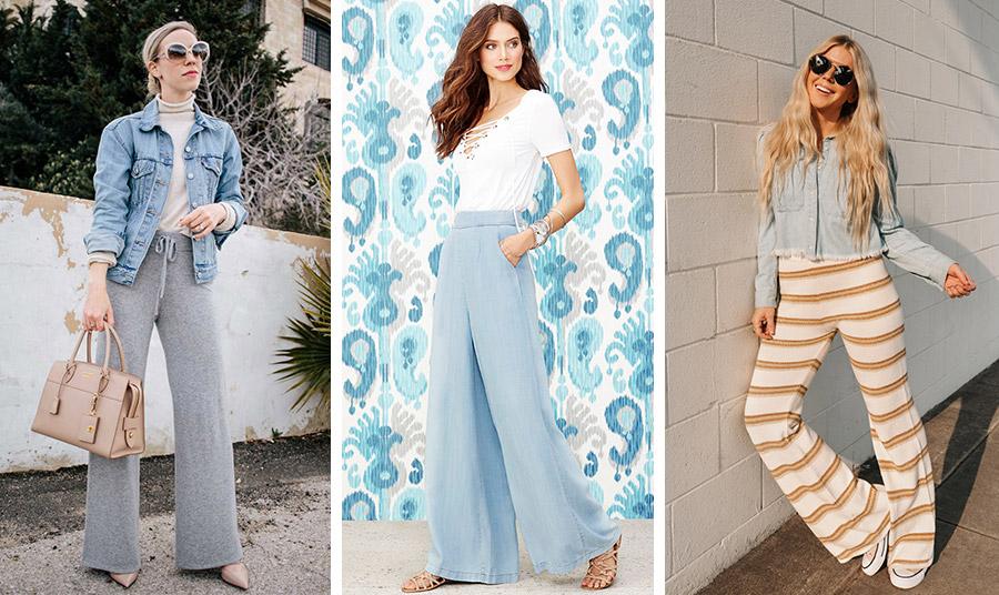 Για την άνοιξη, αναζητήστε φαρδιά καμπάνα παντελόνια από απλό βαμβάκι παστέλ χρώματα. Συνδυάζονται θαυμάσια με το τζιν σακάκι και ένα απλό ζιβάγκο ή μπλουζάκι