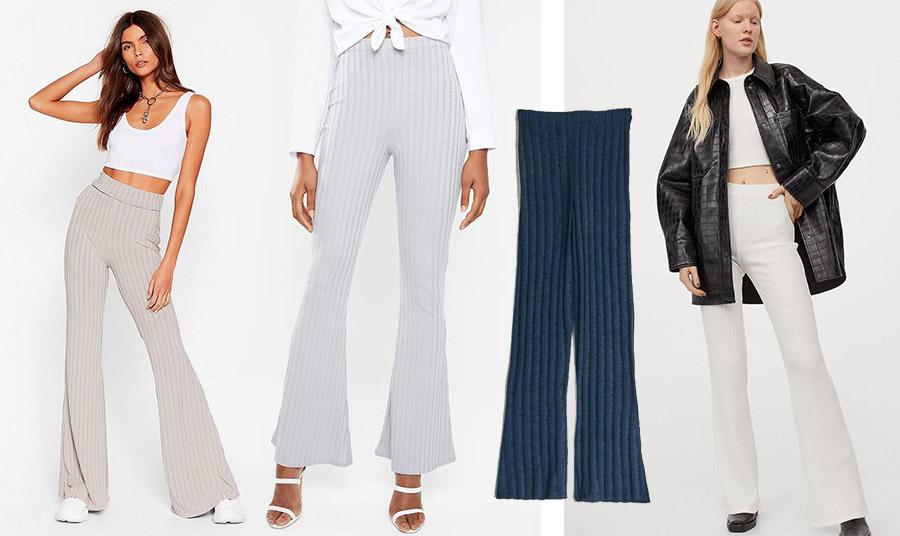 Επιλέξτε ένα μαλακό καμπάνα από βαμβακερό με ριμπ πλέξη για την άνοιξη και φορέστε το με ένα crop top ή ένα λευκό πουκάμισο δεμένο στη μέση // Σκούρο μπλε, Paloma Wools // Λευκό ριμπ με ασορτί κοντό μπλουζάκι φορεμένα με δερμάτινο, H&M
