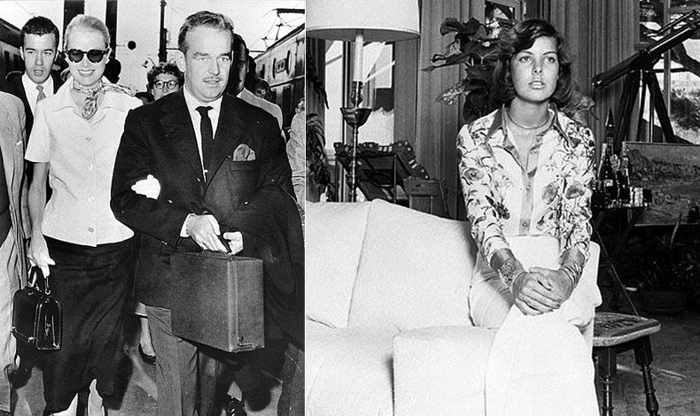 Η Γκρέις Κέλι με τον σύζυγό της Πρίγκιπα Ρενιέ του Μονακό φορώντας φουλάρι Flora, άλλωστε δημιουργήθηκε για εκείνην // Η Καρολίνα του Μονακό με πουκάμισο Flora