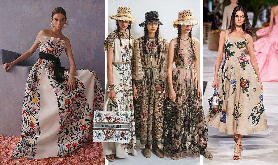 Μεταξύ των πιο όμορφων δημιουργιών, το φόρεμα με παραδοσιακό κέντημα της Oaxaca του Μεξικού, Carolina Herrera // Από τη μοναδική συλλογή με κεντημένα αραχνοϋφαντα υφάσματα σαν καμβάς, Christian Dior // Θηλυκό φόρεμα με κεντημένα λουλούδια και πεταλούδες, Oscar de la Renta