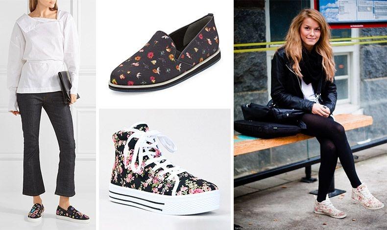Σε μαύρο καμβά και λιλιπούτεια λουλούδια από χάντρες, Christian Louboutin // Πολύχρωμα λουλουδάκια, Rebecca Minkoff // Μποτάκι, Qupid Maniac // Φορέστε τα λουλουδάτα sneakers σας με μαύρο παντελόνι ή κολάν, λευκό μπλουζάκι και δερμάτινο τζάκετ