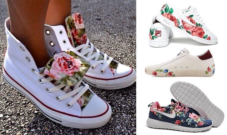 Καλό είναι να συνδυάζετε τα φλοράλ sneakers με απλά χρώματα. Λευκά sneakers με μεγάλα τριαντάφυλλα, Fila // Με διακριτικά λουλούδια σε σουέντ, Golden goose // Mπλε με ροζ λουλούδια, Nike