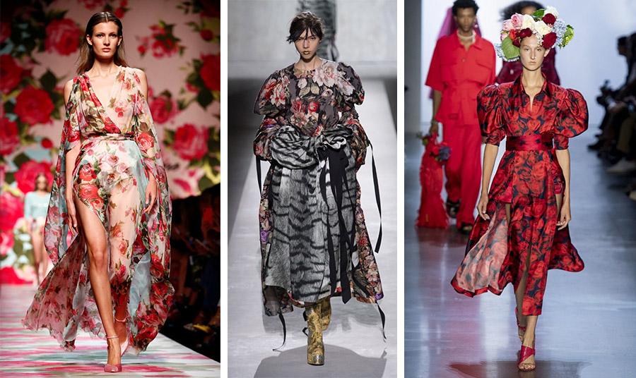 Αιθέριο μάξι φόρεμα με τριαντάφυλλα, Blumarine // H πιο «σκοτεινή» πλευρά των ρόδων, Dries van Noten // Εντυπωσιακά κόκκινα τριαντάφυλλα, Prabal Gurung