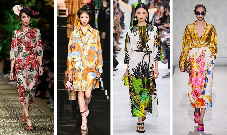 Φόρεμα με ιβίσκους, Dolce&Gabbana // Με αναφορές στα 60s, το φόρεμα, Fendi // Τροπικά φύλλα, Valentino // Λαμπερά χρώματα, Dries Van Noten