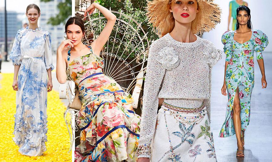 Ρομαντική μακριά τουαλέτα σε λευκό με γαλάζια τριαντάφυλλα, Lila Rose // Πολύχρωμα λουλούδια, Marchesa // Πλεκτές καμέλιες και κεντημένα υπέροχα λουλούδια στη φούστα, Chanel // Κίτρινα, ροζέ και γαλάζια τριαντάφυλλα, Prabal Gurung