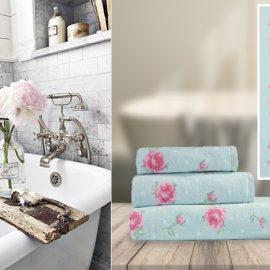 Διακοσμήστε το μπάνιο σας με λουλουδάτες πετσέτες και δώστε έναν ανοιξιάτικο αέρα όλες τις εποχές! Οι βαμβακερές απαλές πετσέτες της σειράς Floral αποτελούνται από πετσέτα χεριών, πετσέτα προσώπου, πετσέτα μπάνιου, από 5,50?