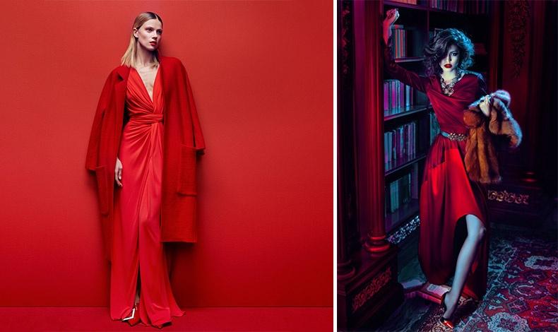 Ένα κατακόκκινο φόρεμα με κόκκινο μάλλινο παλτό για φλογερή εμφάνιση // Συνδυάστε το με γούνα