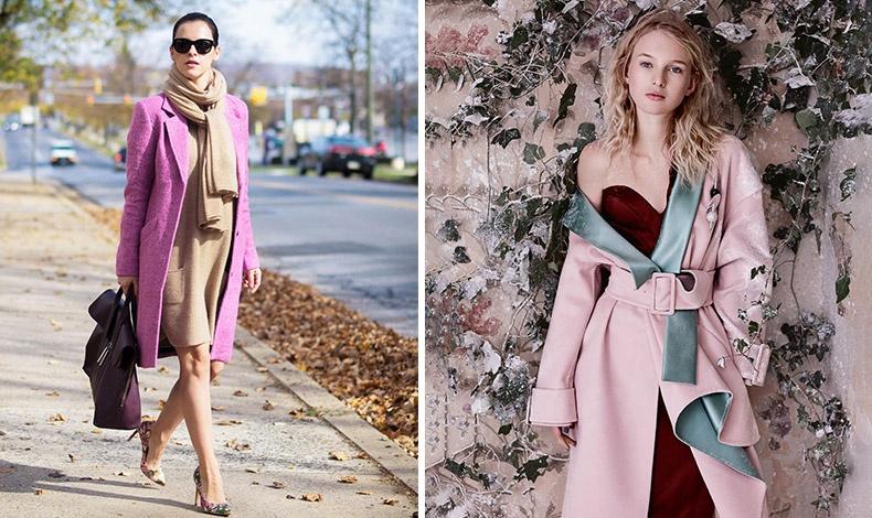 Ένα πλεκτό φόρεμα σε ουδέτερη απόχρωση δένει ιδανικά με ένα ροζέ παλτό, το ίδιο άλλωστε μπορεί να συμβεί και με ένα πιο επίσημο π.χ. σατέν ή μεταξωτό